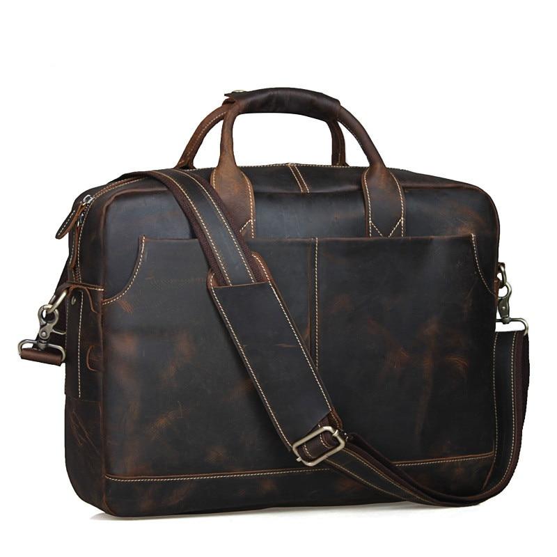 Satchel Horse Aktentasche Tasche Crazy Coffee Braun Messenger brown Schulter Mode Laptop Handgemachte Qualität Top Crossbody Handtasche Leder Männer tY0BBq