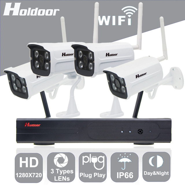 Holdoor 4CH Wifi Camera Kit 1080P NVR Security Camera System 720P ...