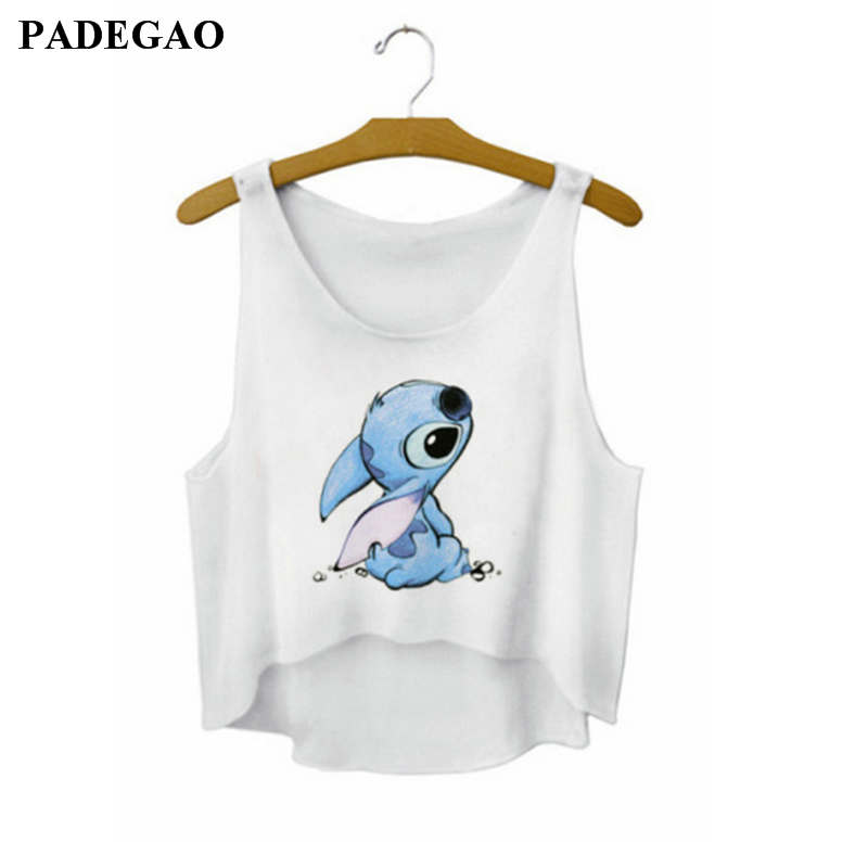 Sexy Crop Top Cropped Vintage Tops Cartoon Character Tank Tops Sleeveless Vest Feminina Women's Camisole 21 Patterns LF727
