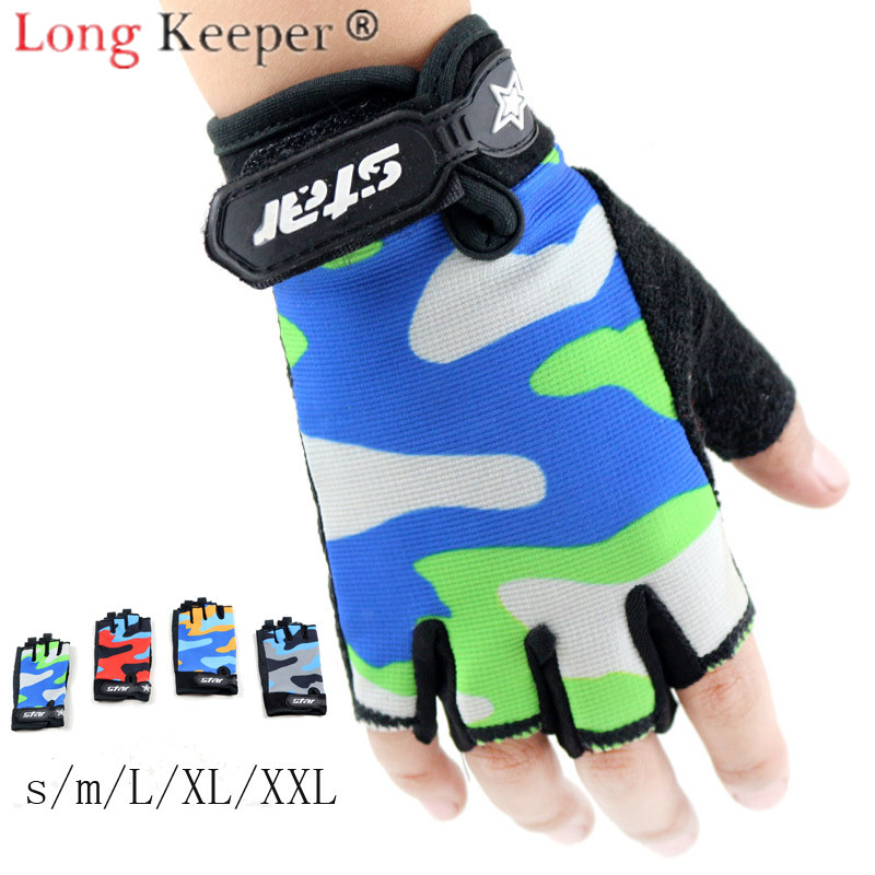 Long Keeper Gloves Men Women Kids Half Finger Mitten Guante Elastic Fabric Camouflage Outdoor Sport Cycling Not Slip Breathable