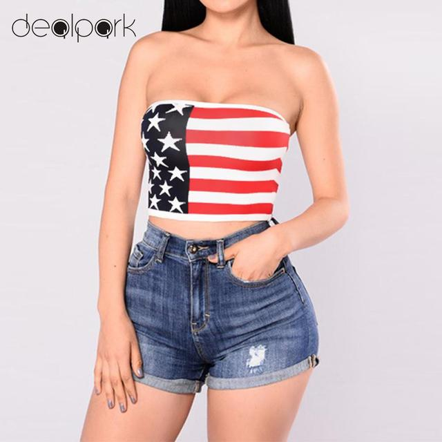 05f5c0fa7cd New Sexy Women Strapless Bustier Crop Top American Flag Print Bandeau  Camisole Tank Tube Top Nightclub Clothes Red