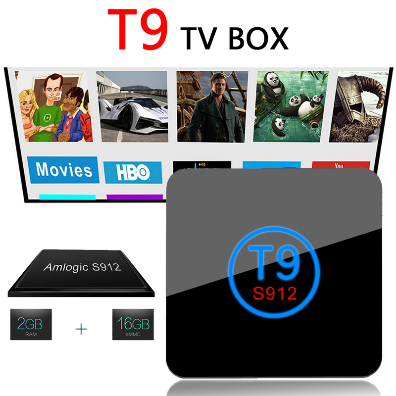 T9 TV BOX Android 6.0 Smart TV Box Amlogic S912 Octa core ARM Cortex-A53 2GB/16GB 2.4/5.0 WiFi VP9 H.265 UHD 4K 2K Media Player