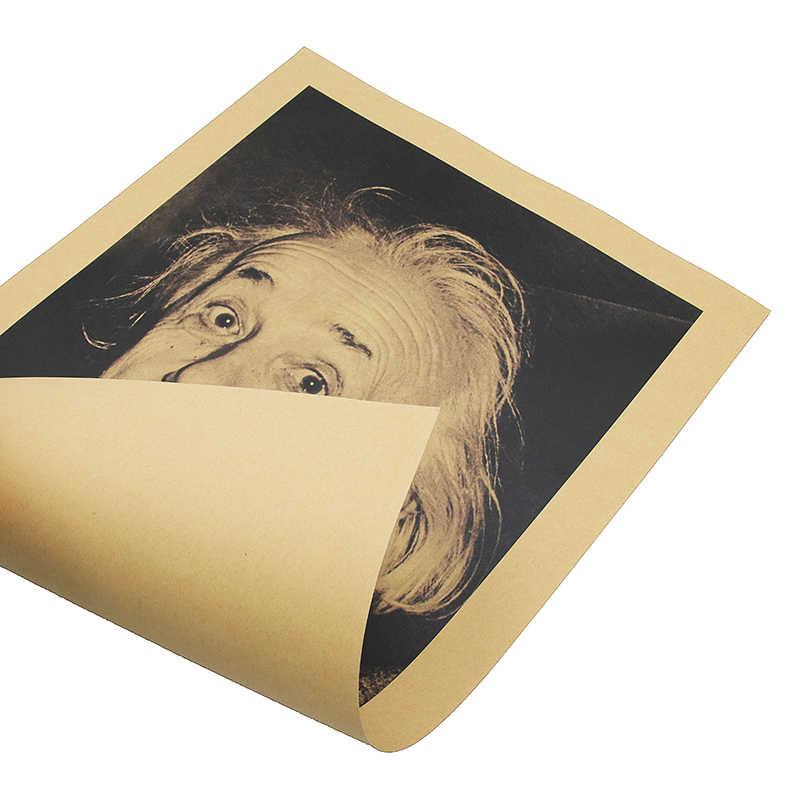 Pegatina de pared Einstein imaginación es más importante que los carteles Retro del conocimiento pegatinas de pared de papel Kraft póster de película Vintage