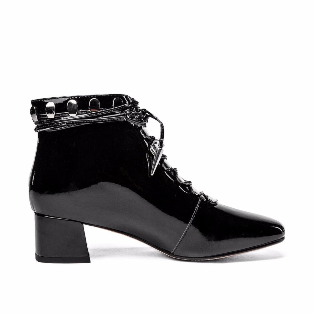 Suede Automne Leather black 2018 Mode Talons Arden Furtado Matin Chaussures Bottines Femme Black Pour Cm Bottes 4 Cuir En Up Lace Hiver Véritable Chunky qg1txp5