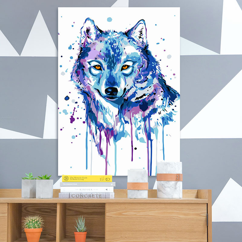 Diy Digital Painting Blue Wolf Digital Paint By Numbers Drawing Practice Coloring By Numbers Picture By Numbers