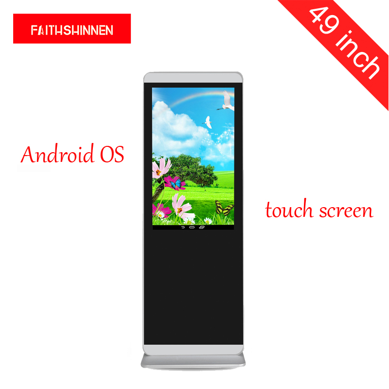 49 inch HD Android digital signage player display advertising touch screen kiosk shopping malls, hotel malls, photo booth p6 fullcolor rental advertisingwifi led display floor standing digital signage
