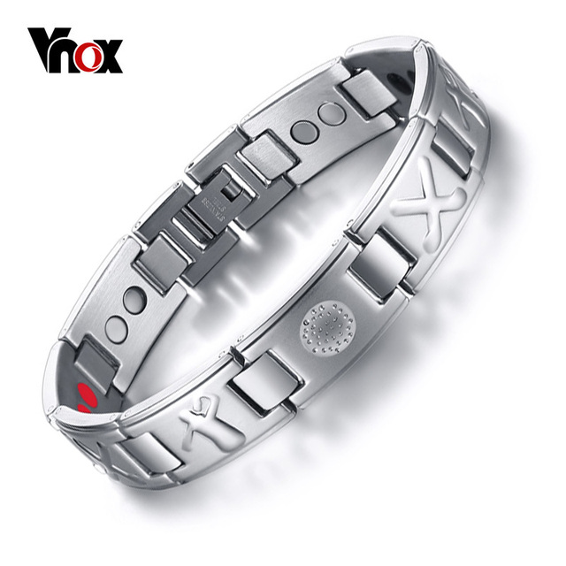 Vnox Men S Bio 4 Elements Energy Magnetic Bracelet Healing Stainless Steel Golf Bracelets Drop Shipping