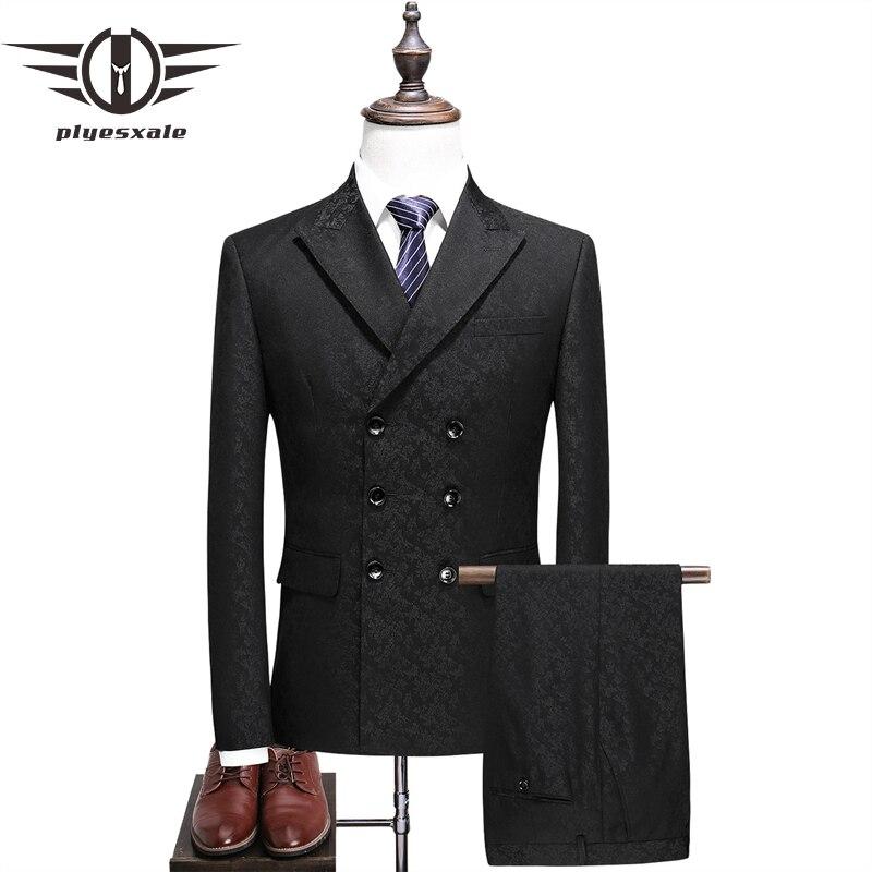 Plyesxale Double boutonnage costume hommes 2018 Slim Fit moderne hommes mariage costumes avec pantalon 5XL marque 3 pièces hommes costumes formel Q369