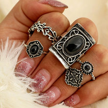 Antique silver Fish tail lotus finger ring set New vintage trendy jewelry gift for women girl(China)