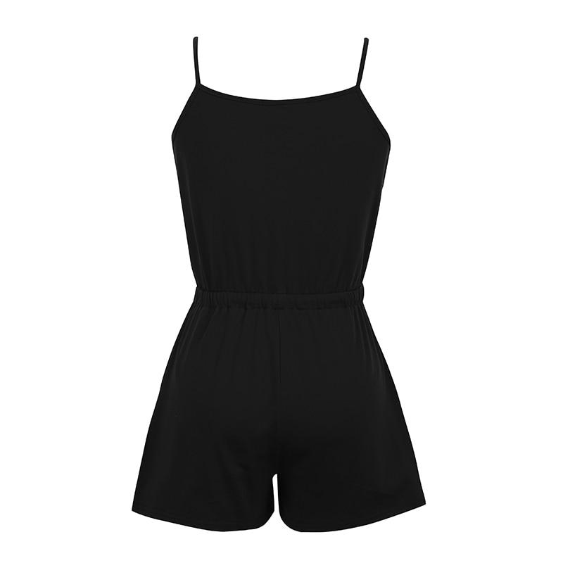 3f98e4547de 2019 Romacci Sexy Women Solid Sleeveless Playsuit V Neck Drawstring ...