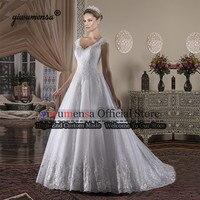 Vestido De Novia 2019 Lace A line Wedding Dresses V Neck Sleeveless Plus Size Bridal Dress Robe Mariee Sexy Lace Wedding Gowns