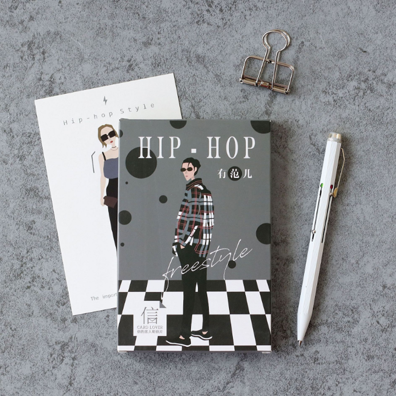 30 Pcs/pack Creative Hip-hop Style Swag Postcard Greeting Card Message Card Birthday Letter Envelope Gift Card Stationery Gifts