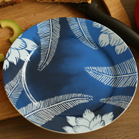 8 Inch Brand Dinner Plates High Quality Tableware Blue Floral Printed Desserts Ceramic Dishes Bone China