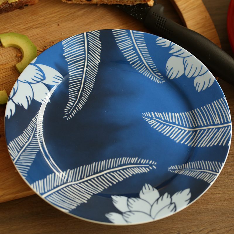 8 inch brand dinner plates high quality tableware blue floral printed desserts ceramic dishes bone china breakfast dish round