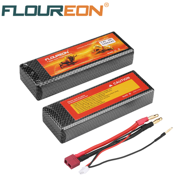 FLOUREON battery 2S 7.4V 30C 5200mAh Lipo Battery Rechargeable Battery RC Battery Dean T Plug for RC Truck Car Helicopter Boat