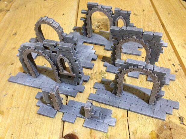 New Arrival Wooden Miniature Gothic Style Six Ruins Door As Picture