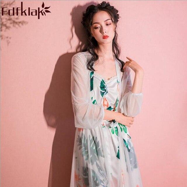 42486b02f1 Fdfklak 2018 New Design Bridal Robe Set Spring Summer Two Piece Womens  Night Gowns Sets Silk Woman s Nightie Robe Femme Q1041