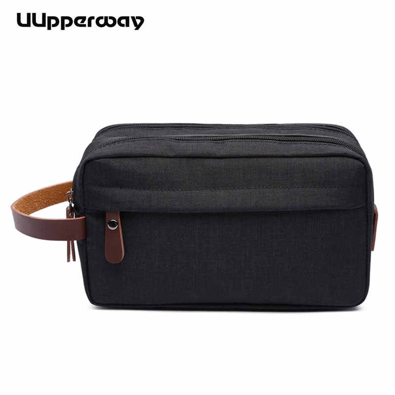 Fashion Design Men Oxford & Leather Envelope Bags Casual Day Clutch Bag Double Zippers Business Small Male Pouch Wrist Hand Bags