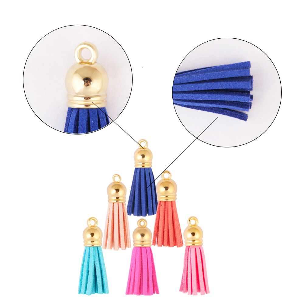 100pcs 4cm Faux Suede Cord Tassel Suede Tassel Spike Make Key Earrings Jewelry Findings Components Hanging Spout Necklace DIY in Jewelry Findings Components from Jewelry Accessories