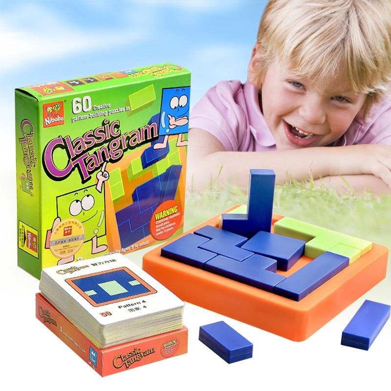Calitate Clasic IQ Tangram Puzzle Logic Mind Brain Teaser Educational Puzzles Jucarii pentru copii Copii