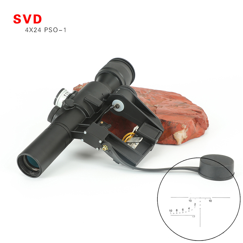 4x24 PSO Type lunette de visée SVD Sniper fusil série AK fusil portée pour chasse vue Dragunov optique rouge éclairé