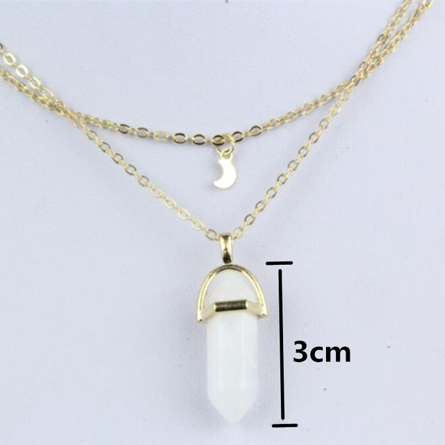 New Style Double Layer Moon Pendant&Neckalce Fashion Punk Geometric Metal Chain Necklaces For Women Boho Party Jewelry Gift x291