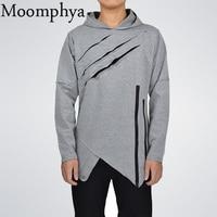 Moomphya 2017 Men Autumn Winter Ripped Curve Hem Hoodies Irregular Zip Hoodies Men Fashion Hip Hop
