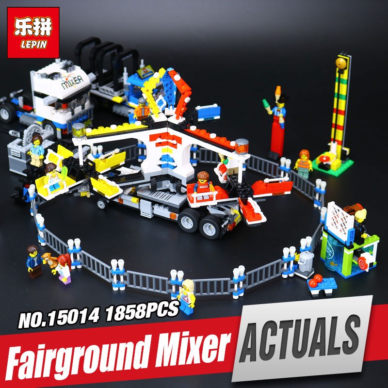 Lepin 15014 1858Pcs Street Series The Amusement Park Giant Stride Carnival Set Building Blocks Bricks legoing Toys Gift 10244 lepin 15014 1858pcs amusement park carnival model building kits blocks bricks creator legoinglys 10244 architecture toys gift