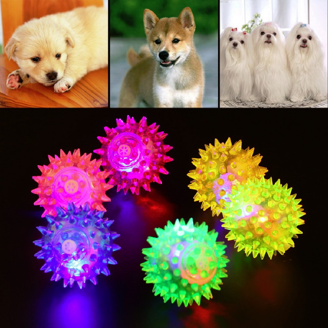 1pcs Dog Puppy Cat Pet LED Squeaky Hedgehog Ball Rubber Bell Sound Ball Fun Night Light Playing Toy Mini Lanterna led USB in LED Night Lights from Lights Lighting