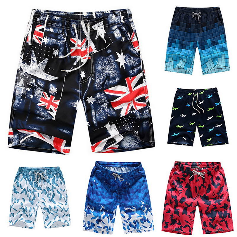 Print Swiming Shorts Men Drawstring Casual Sunga Masculina Loose Quick Dry Board Shorts Summer Elastic Waist Usa Beach Shorts