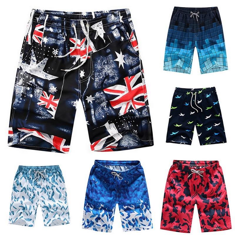 Print Swiming Shorts Men Drawstring Casual Sunga Masculina Loose Quick Dry Board Shorts Summer Elastic Waist Usa Beach Shorts