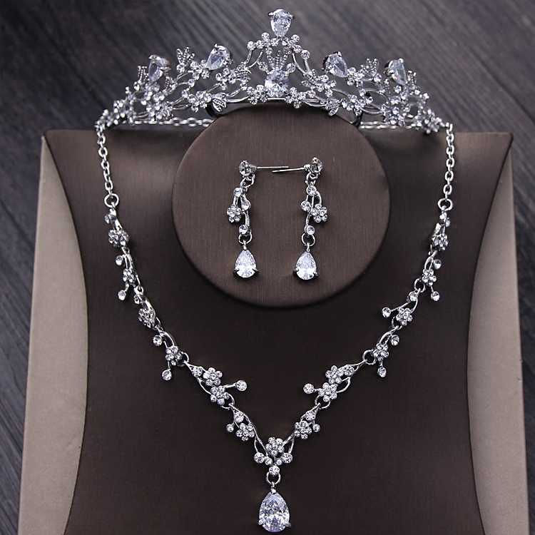 Luxury Sparkling Cubic Zircon Bridal Jewelry Sets Silver Crystal Rhinestones Diadem Tiara Necklace Earrings Wedding Jewelry Set