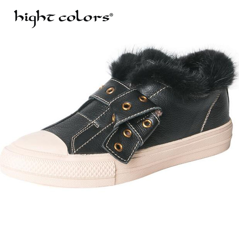 Fashion Hot Sale New Black Lover Breathable Slip-On Comfortable Flat Platform Casual Shoes Winter Warm snow Flats HD1581