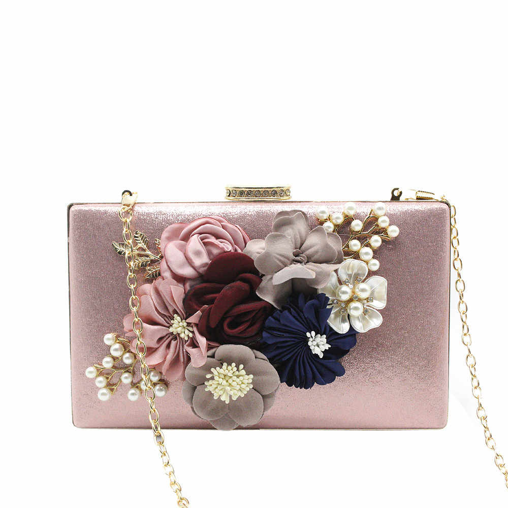 ec515acdabc Women Evening Bag Ladies Flower Wedding Clutches Female Pink Black Clutch  Purse  Zer