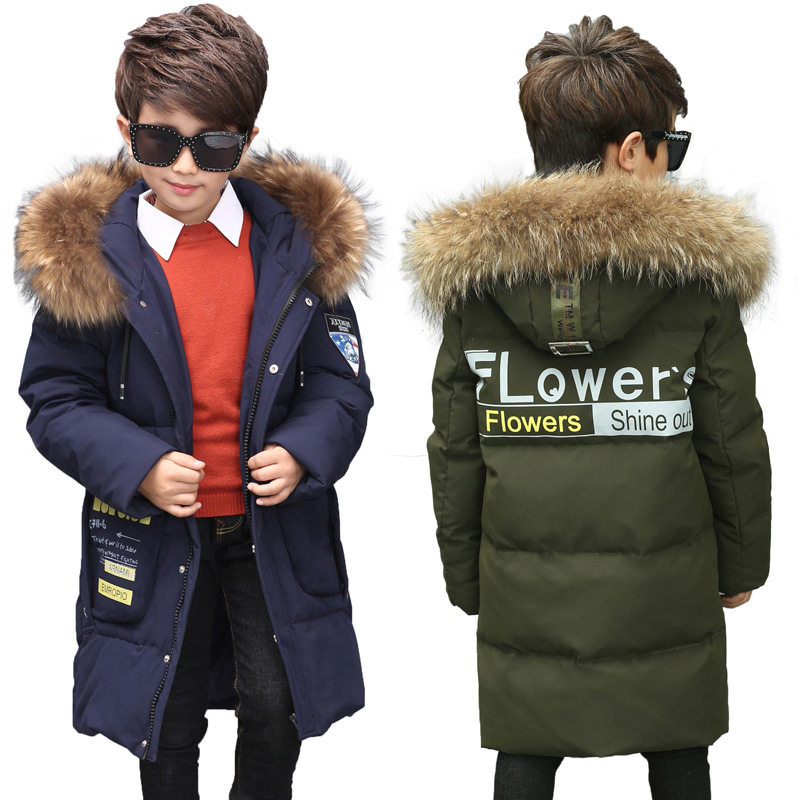 Boys girls down jacket long section children winter thickening outerwer 80% white duck down new kids clothes for 8 10 12 14 age boys girls down jacket long section children winter thickening outerwer 80