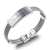 Retro Silver Color Men S Bracelet 3 Rows Wire Chain Bracelets Bangles Fashion Punk 316L Stainless