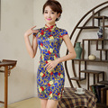 New Chinese Traditional Dress Summer Style Vintage Cheongsam Qipao Elegant Short Printed Silk Satin Party Dress Women Clothing