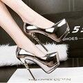 Женщины на высоких каблуках обувь 2017 золото насосы женщины партия обуви насосы платформы серебряные свадебные туфли на шпильках туфли D980