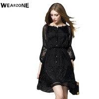 Elegant 3 4 Lantern Sleeve Dress Casual Femininos Crochet Floral Lace Embroidery Dresses Sheer Aline People