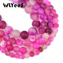 WLYee Rose Matte Stripe carnelian beads Natural Stone 6 8 10 mm Round Loose bead for jewelry Accessories Bracelet Making DIY 15