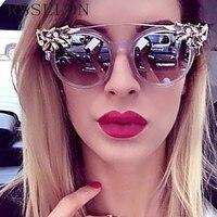 RSSELDN Vintage Fashion Rhinestone Cat Eye Sunglasses Women Designer Transparent Frame Reflective Sun Glasses Oculos De