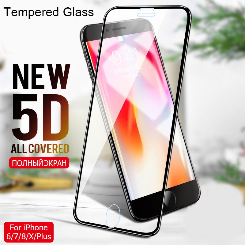 5D Tempered Glass On The For IPhone 7 Plus X 10 Curved Screen Protector For IPhone 8 Plus Protective Glass On IPhone 6 6s Plus