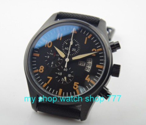 PARNIS 42mm PVD black shell plating chronograph Japanese quartz movement luminous canvas men s watch wholesale