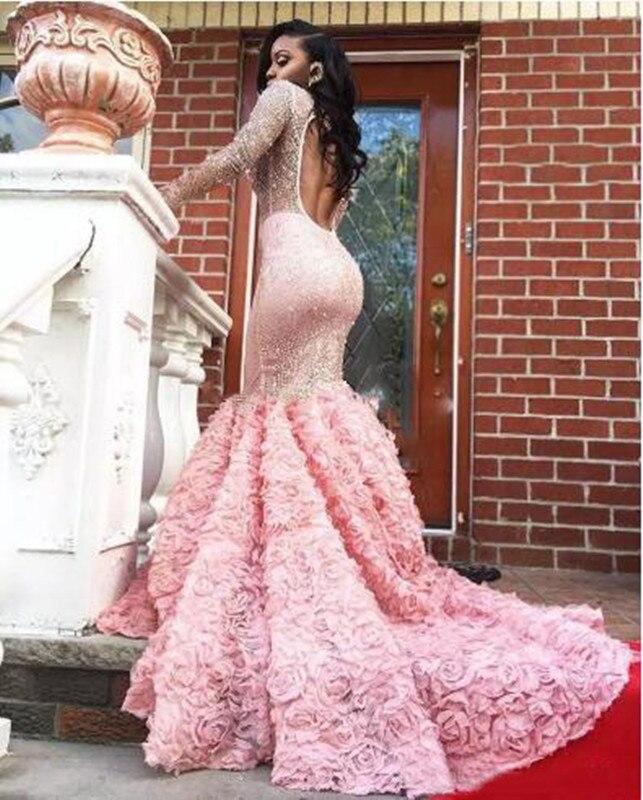 Chic V Fleur Pleine Extensible Sheer Longue Robes Sexy Nu Soirée Manches Dos Rose Sirène cou De Formelle La Parti 29DEWHI