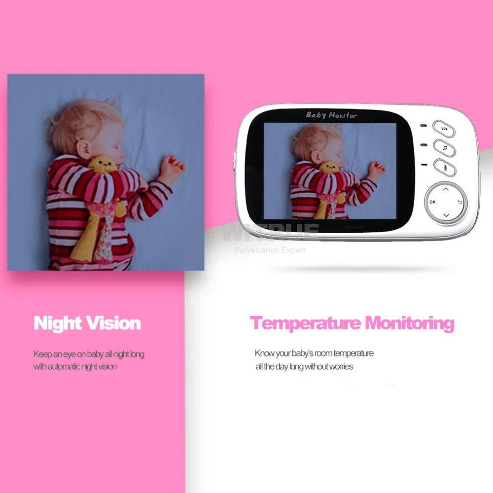 Video Monitor de bebé VB603 2,4g inalámbrico de 3,2 pulgadas LCD 2 Audio hablar visión en noche y con Video niñera bebé monitor de sueño - 3