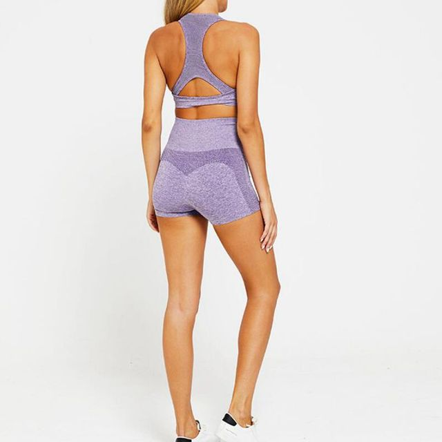 2PCS Women Yoga Sets Seamless Yoga Suit Fitness Sportswear Workout GYM Running Sports Bra+Short Pants Sports Tights Yoga Shorts 4