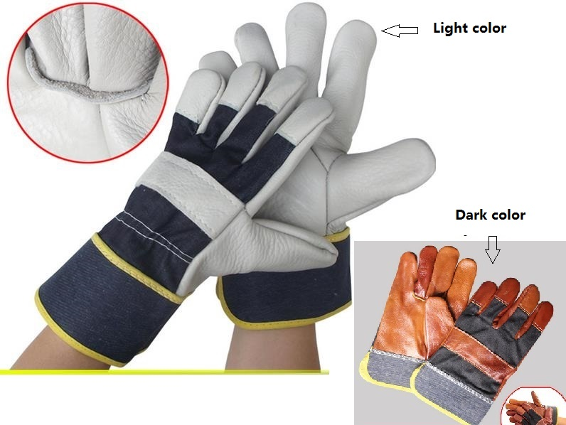 High quality welding gloves Protective wear-resisting High temperature resistant cowhide Work gloves high quality hand tool gloves 12 pairs 700g cotton gloves wear resistant work thick gloves against high low temperature gloves