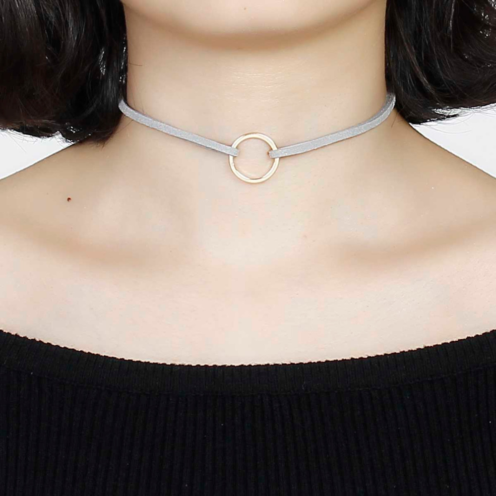 8SEASONS Hot Sale Women Jewelry Gray Velvet Suede Double Layer Choker Necklace Gold color Circle Pendant 33cm long, 1 Piece