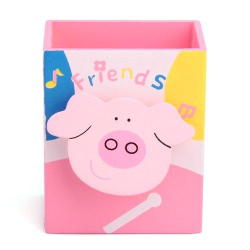 Xmas Cartoon Pink Pig Memo Clip Wood Desk Pen Pencil Organiser Cup Holder
