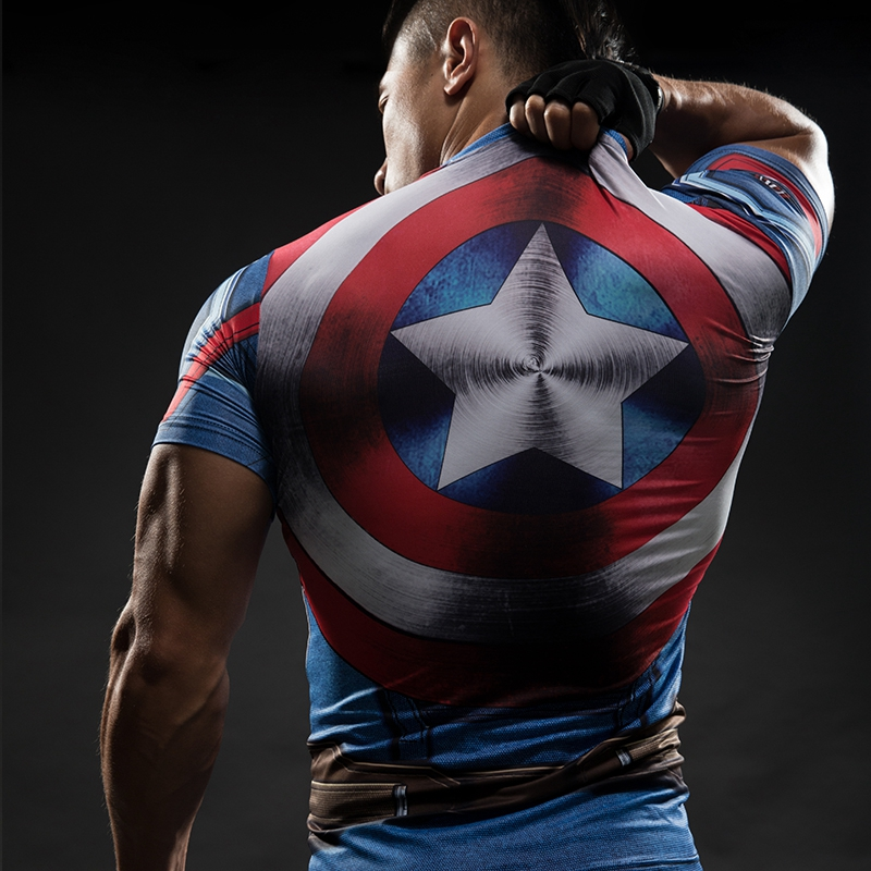 T     Shirt   Captain America Shield Civil War Tee 3D Printed   T  -  shirts   Men Marvel Avengers 3 iron man Fitness Clothing Male Tops